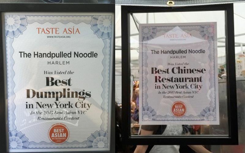 Voted Best Dumplings and Chinese Restaurant 2015 at Taste Asia Food Festival in Time Square